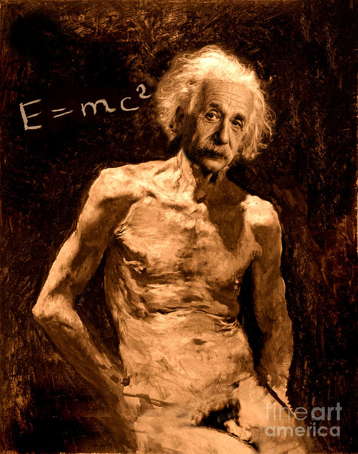 Einstein Painting - Einstein Relatively Nude by Karine Percheron-Daniels