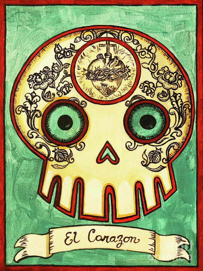 El Corazon Calavera Loteria Painting
