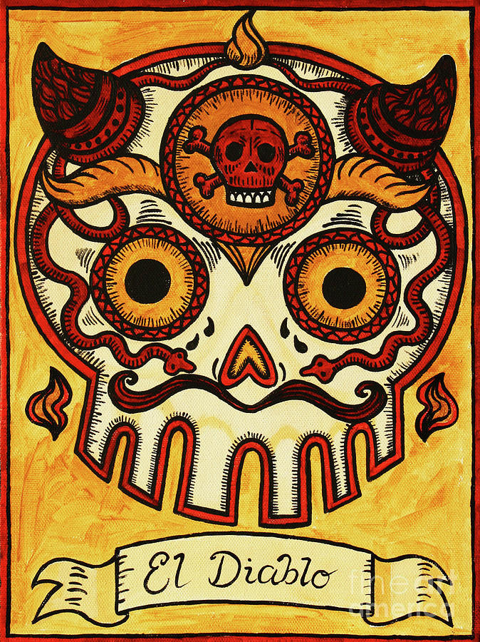 El Diablo Calavera Loteria Painting