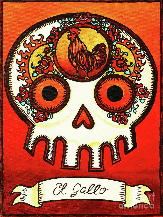 El Gallo Calavera Loteria Painting