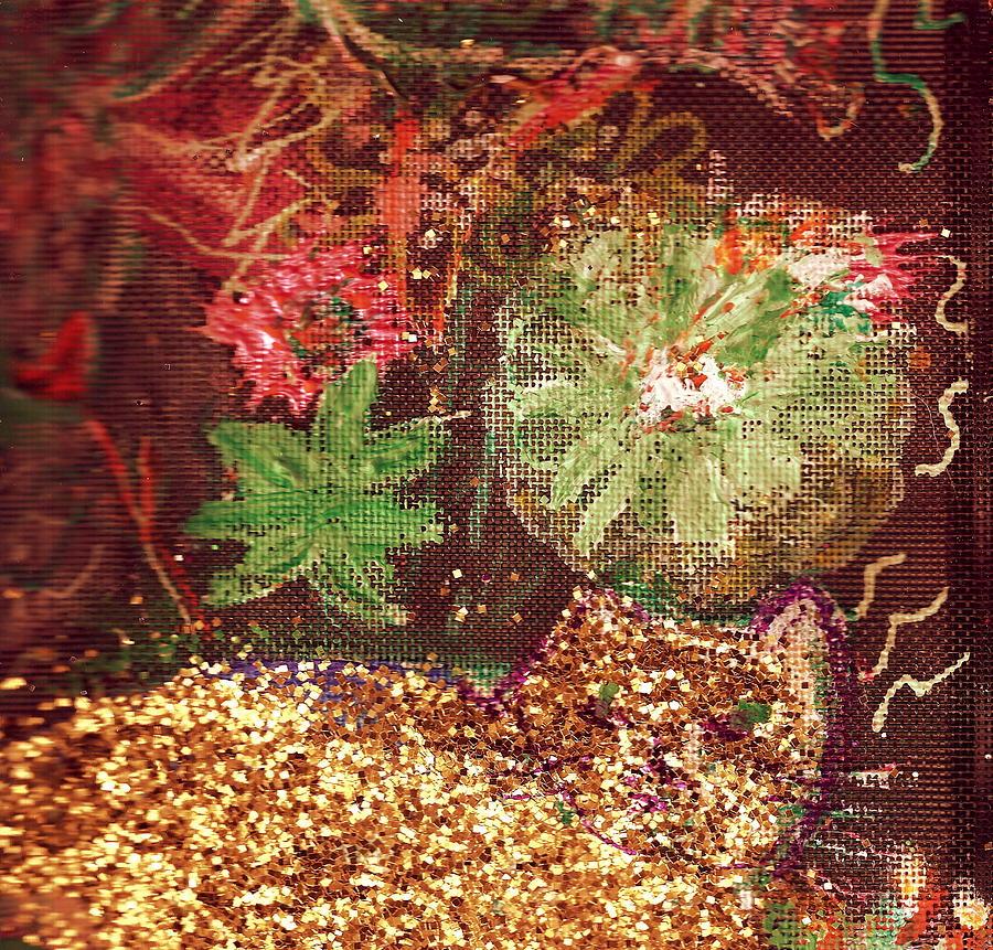 El Gato Oro Y Flores Painting