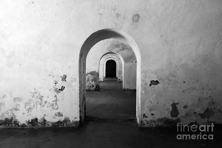 El Morro Fort Barracks Arched Doorways San Juan Puerto Rico Prints Black And White Photograph