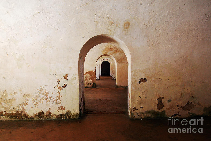 El Morro Fort Barracks Arched Doorways San Juan Puerto Rico Prints Photograph  - El Morro Fort Barracks Arched Doorways San Juan Puerto Rico Prints Fine Art Print