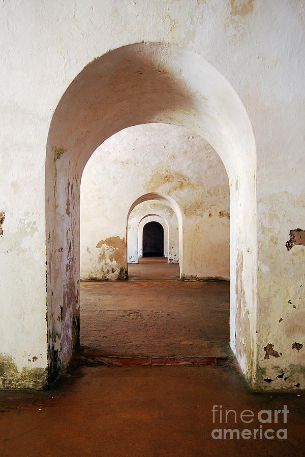 El Morro Fort Barracks Arched Doorways Vertical San Juan Puerto Rico Prints Photograph  - El Morro Fort Barracks Arched Doorways Vertical San Juan Puerto Rico Prints Fine Art Print
