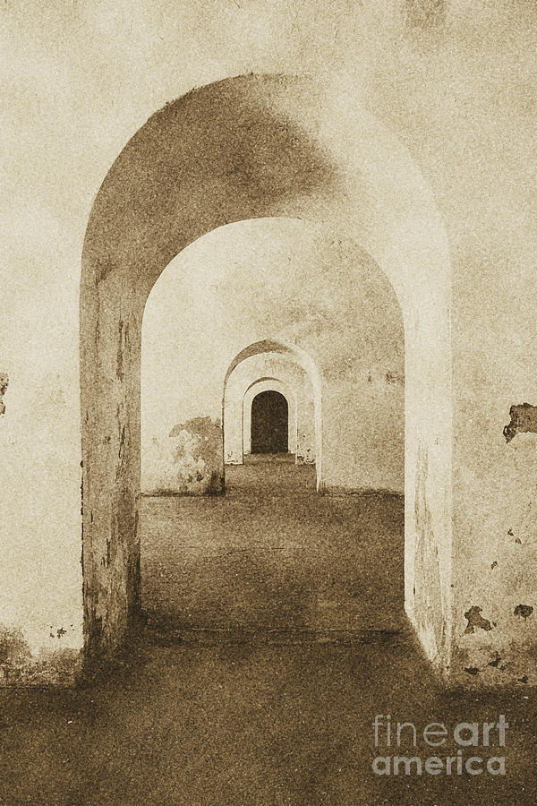 El Morro Fort Barracks Arched Doorways Vertical San Juan Puerto Rico Prints Vintage Digital Art  - El Morro Fort Barracks Arched Doorways Vertical San Juan Puerto Rico Prints Vintage Fine Art Print