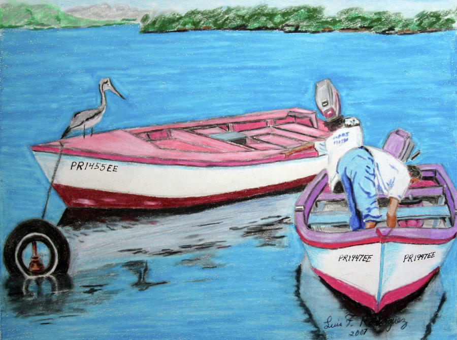 El Pescador De Guanica Painting