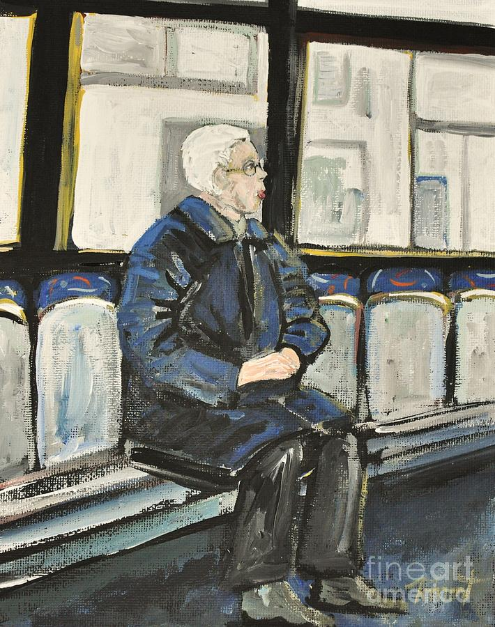 Elderly Lady On 107 Bus Montreal Painting  - Elderly Lady On 107 Bus Montreal Fine Art Print