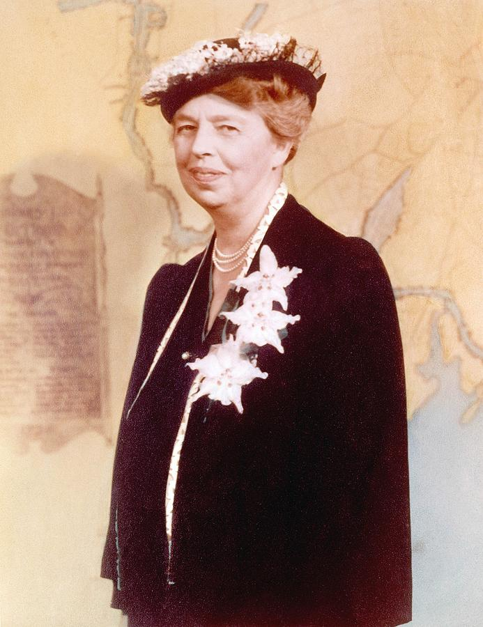 Eleanor Roosevelt. Hand Colored Photograph  - Eleanor Roosevelt. Hand Colored Fine Art Print
