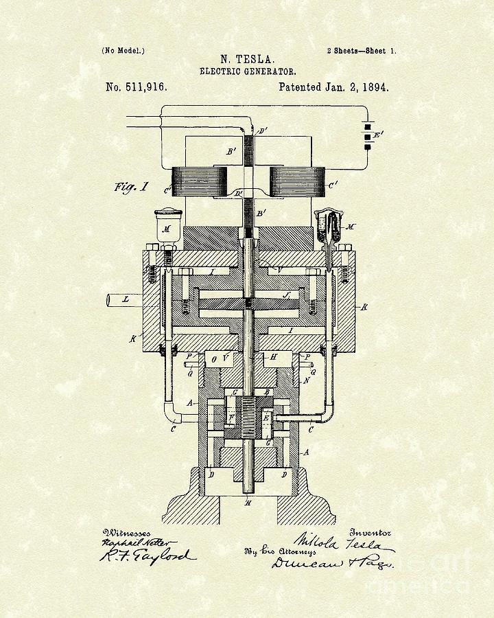 Electric Generator 1894 Patent Art Drawing
