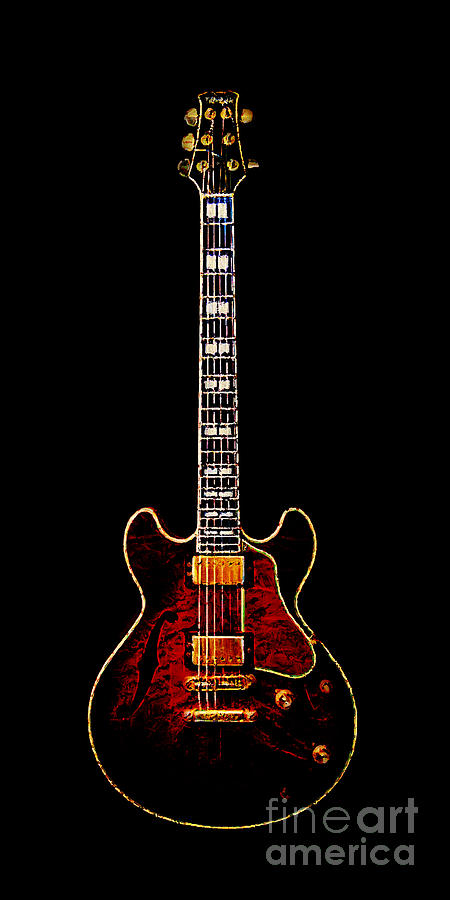 Electric Guitar . Painterly Photograph  - Electric Guitar . Painterly Fine Art Print