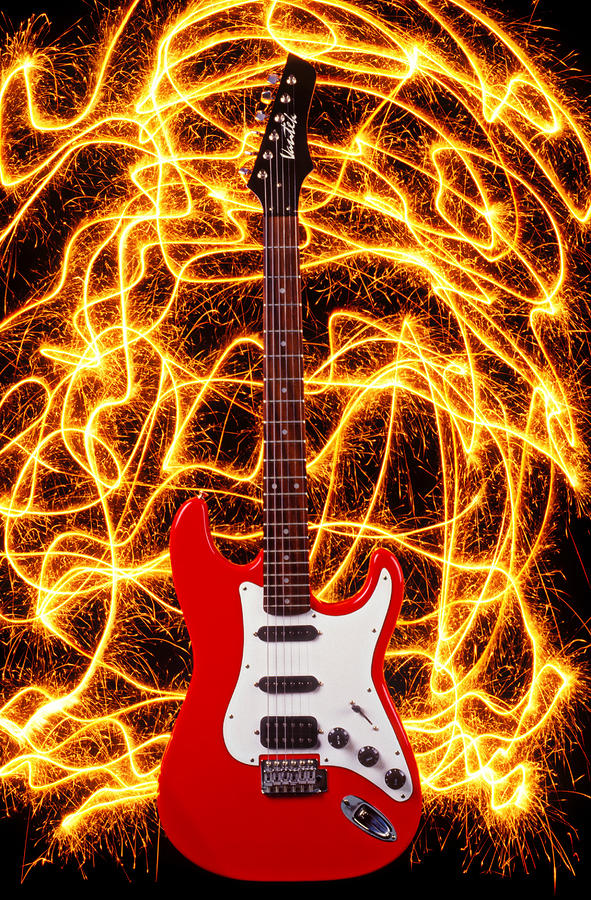 Electric Guitar With Sparks Photograph