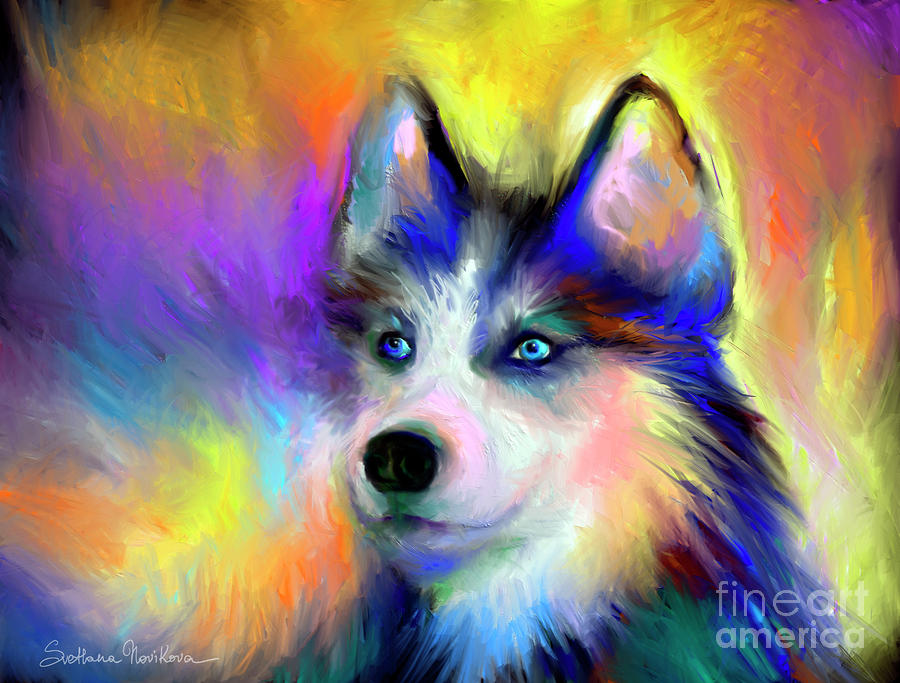 Electric Siberian Husky Dog Painting Painting  - Electric Siberian Husky Dog Painting Fine Art Print