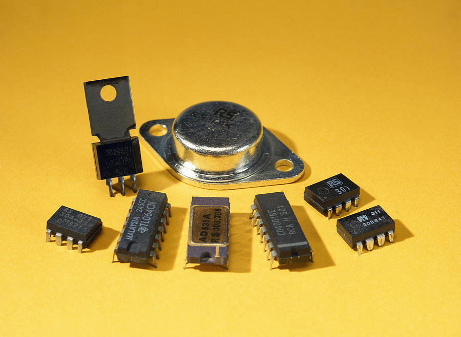 Electronic Circuit Board Components Photograph