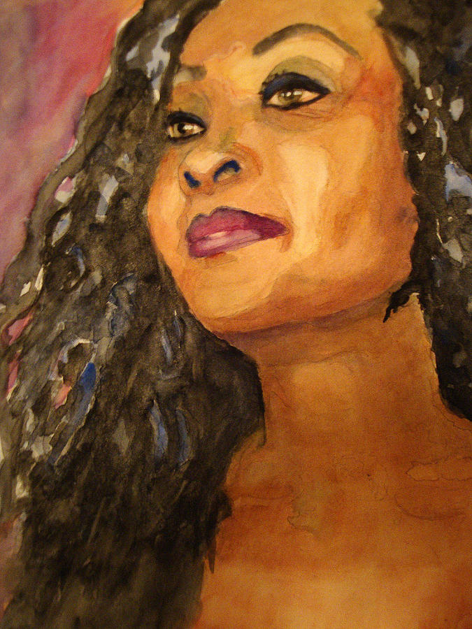 Black Woman With Long Hair And Light Eyes Painting - Elegance by Karen McDonald