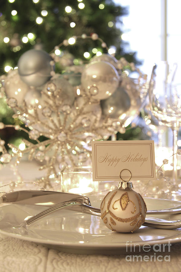 Elegant Holiday Dinner Table With Focus On Place Card Photograph