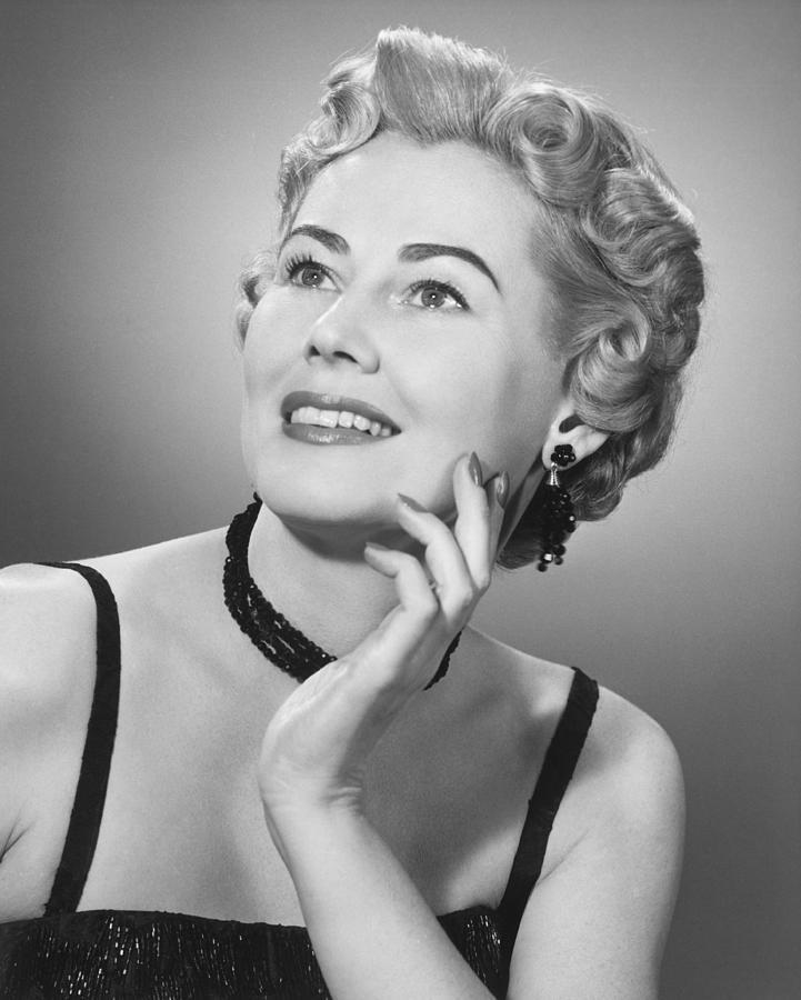 Elegant Woman Posing In Studio, (b&w), Portrait Photograph