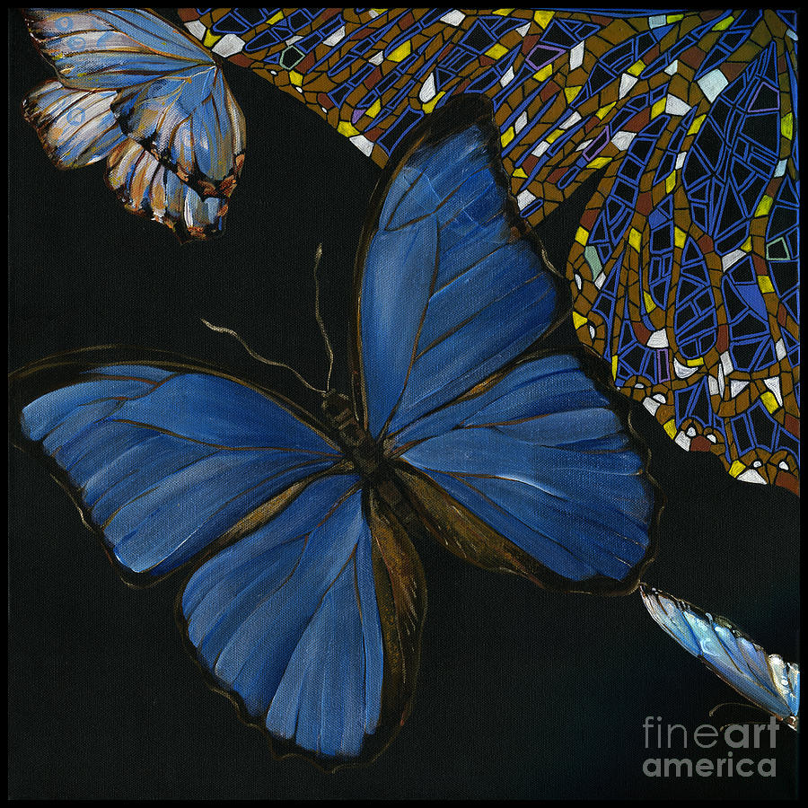 Elena Yakubovich - Butterfly 2x2 Lower Left Corner Painting  - Elena Yakubovich - Butterfly 2x2 Lower Left Corner Fine Art Print