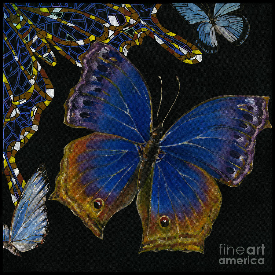 Elena Yakubovich - Butterfly 2x2 Lower Right Corner Painting  - Elena Yakubovich - Butterfly 2x2 Lower Right Corner Fine Art Print
