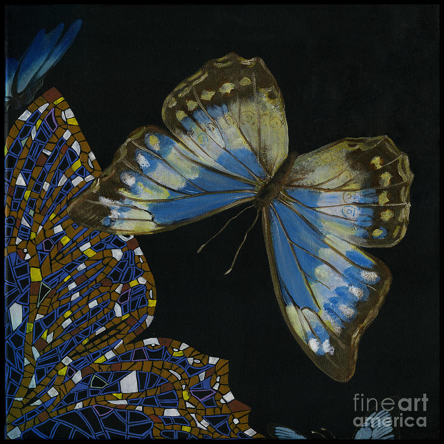 Elena Yakubovich - Butterfly 2x2 Top Right Corner Painting  - Elena Yakubovich - Butterfly 2x2 Top Right Corner Fine Art Print