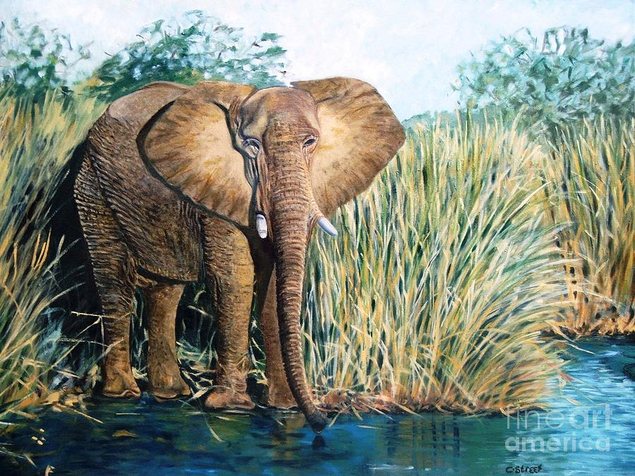 Elephant At The Watering Hole Painting
