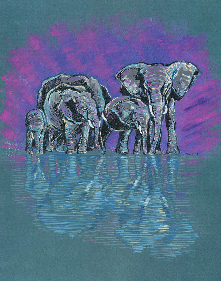 Elephant family painting - photo#14