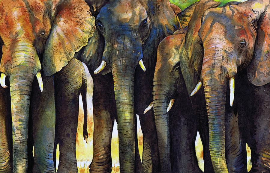 Elephant Herd Painting  - Elephant Herd Fine Art Print