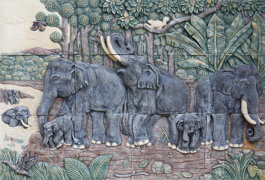 Elephant Sculptures Painting  - Elephant Sculptures Fine Art Print