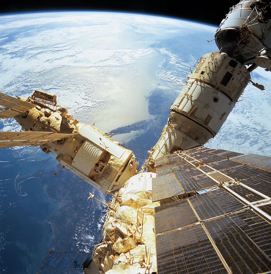 Elevated View Of A Space Station In Orbit Photograph  - Elevated View Of A Space Station In Orbit Fine Art Print