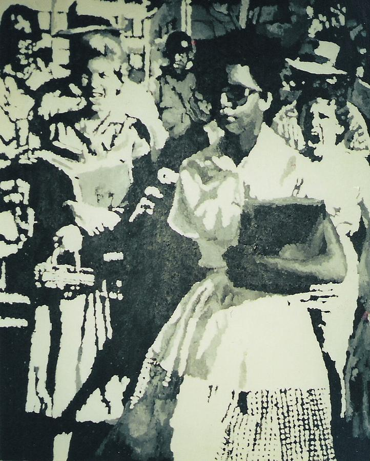 Elizabeth Eckford Making Her Way To Little Rock High School 1958 Painting  - Elizabeth Eckford Making Her Way To Little Rock High School 1958 Fine Art Print