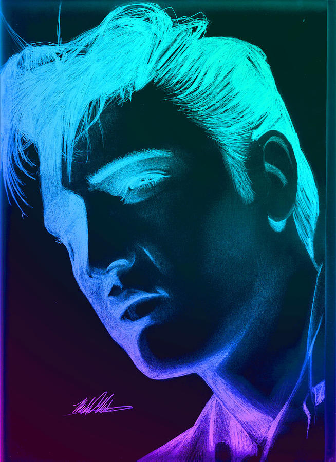 Elvis Neon Digital Art  - Elvis Neon Fine Art Print
