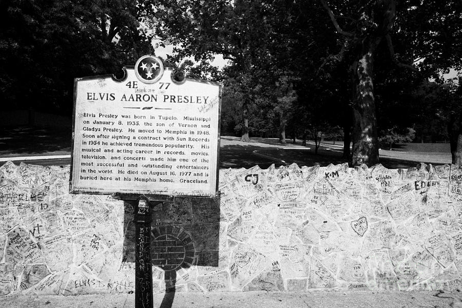 Elvis Presley Marker Nameplate And Low Wall Outside Graceland Memphis Tennessee Usa Photograph
