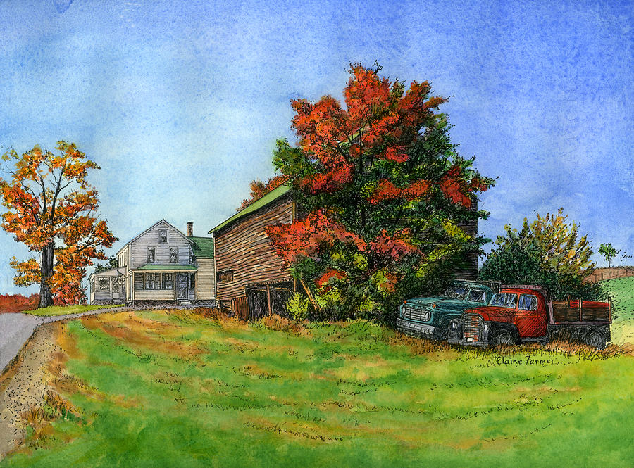 Elwood Farmhouse With Barn Painting by Elaine Farmer