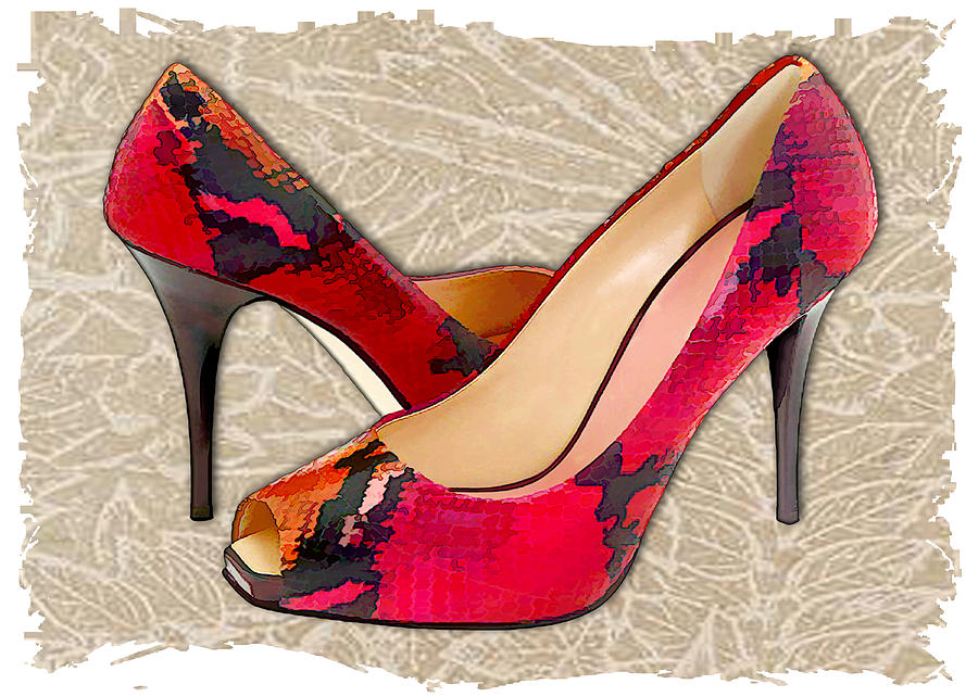 embossed leather reptile pumps painting by elaine plesser