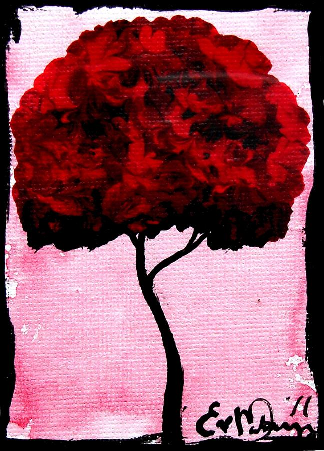 Emilys Trees Red Painting  - Emilys Trees Red Fine Art Print