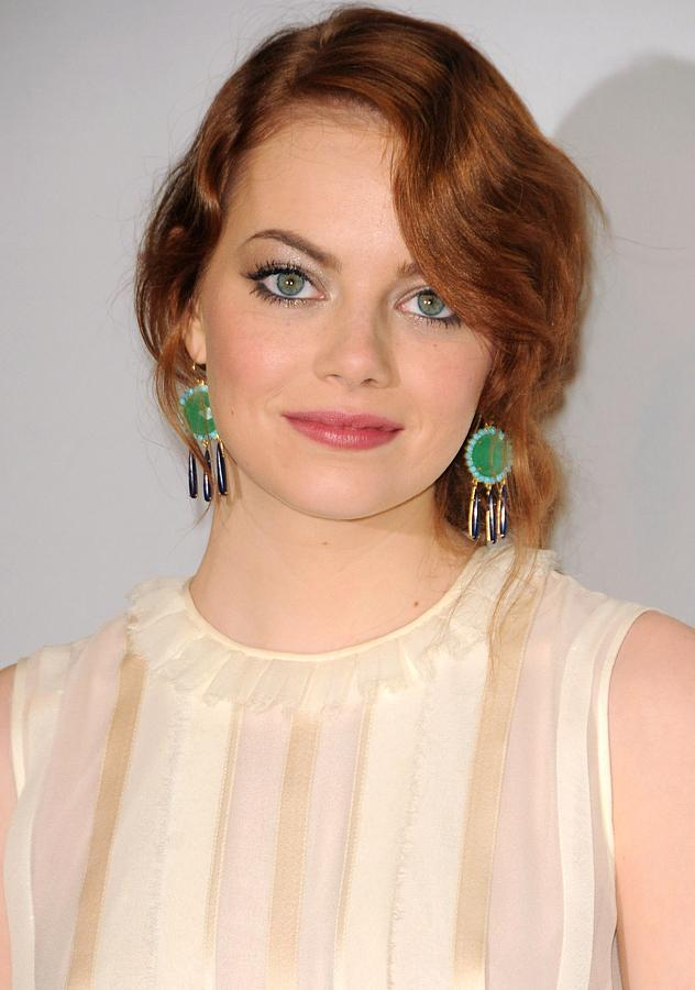 Emma Stone Photograph - Emma Stone Wearing Irene Neuwirth by Everett