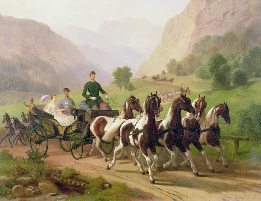 Emperor Franz Joseph I Of Austria Being Driven In His Carriage With His Wife Elizabeth Of Bavaria I Painting  - Emperor Franz Joseph I Of Austria Being Driven In His Carriage With His Wife Elizabeth Of Bavaria I Fine Art Print