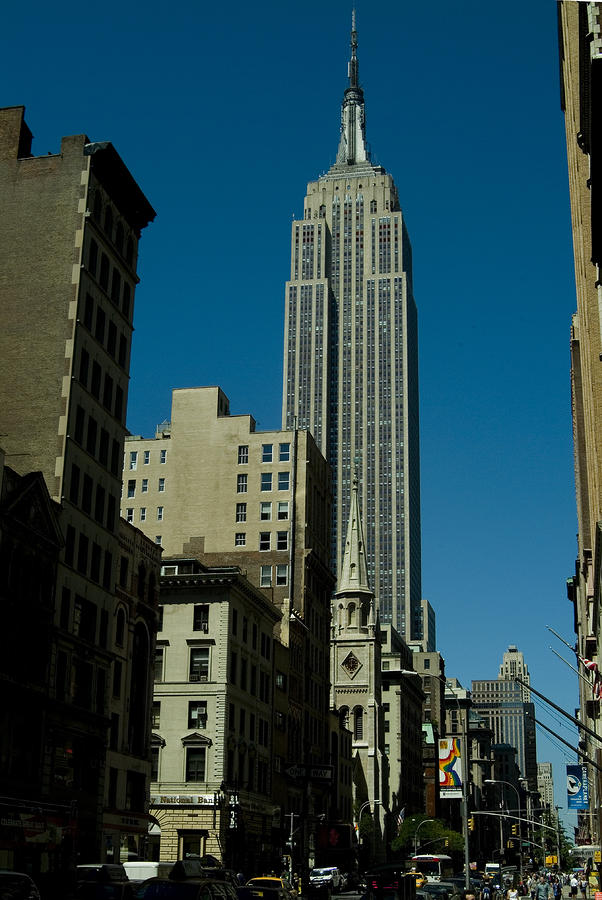 Empire State Building Seen From Street Photograph  - Empire State Building Seen From Street Fine Art Print