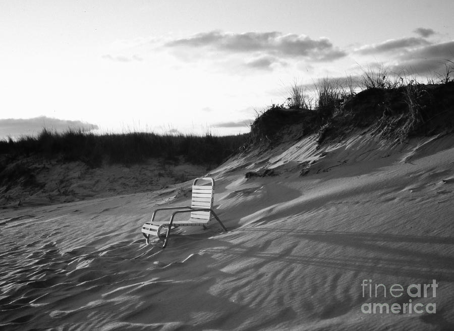 Empty Chair At Montauk Beach Pyrography  - Empty Chair At Montauk Beach Fine Art Print