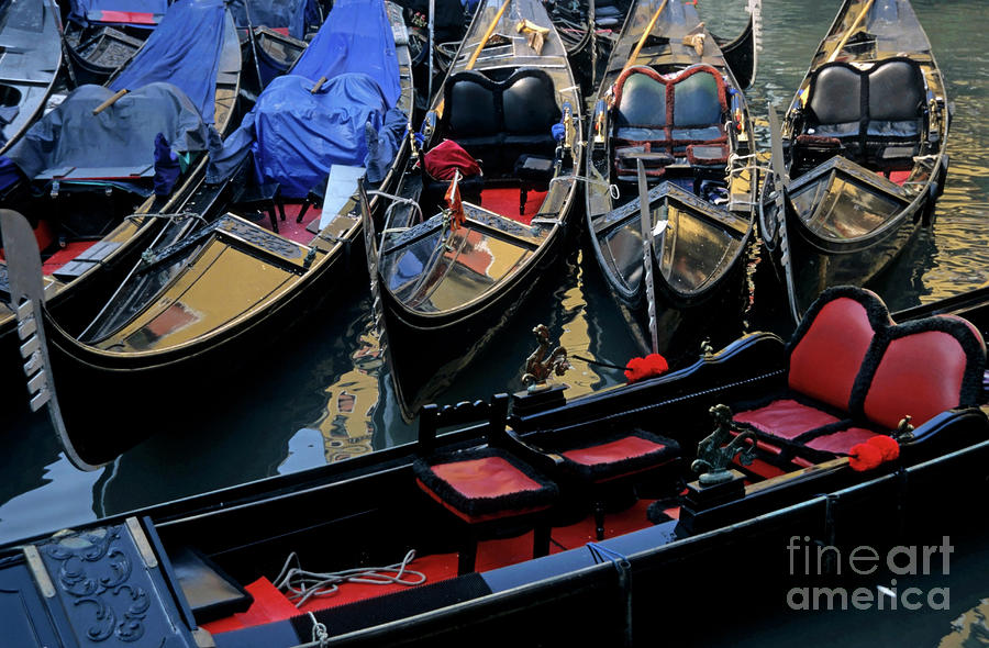 Empty Gondolas Floating On Narrow Canal In Venice Photograph  - Empty Gondolas Floating On Narrow Canal In Venice Fine Art Print