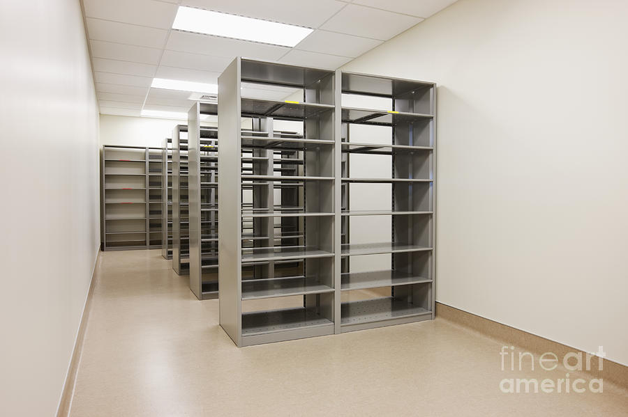 Empty Metal Shelves Photograph