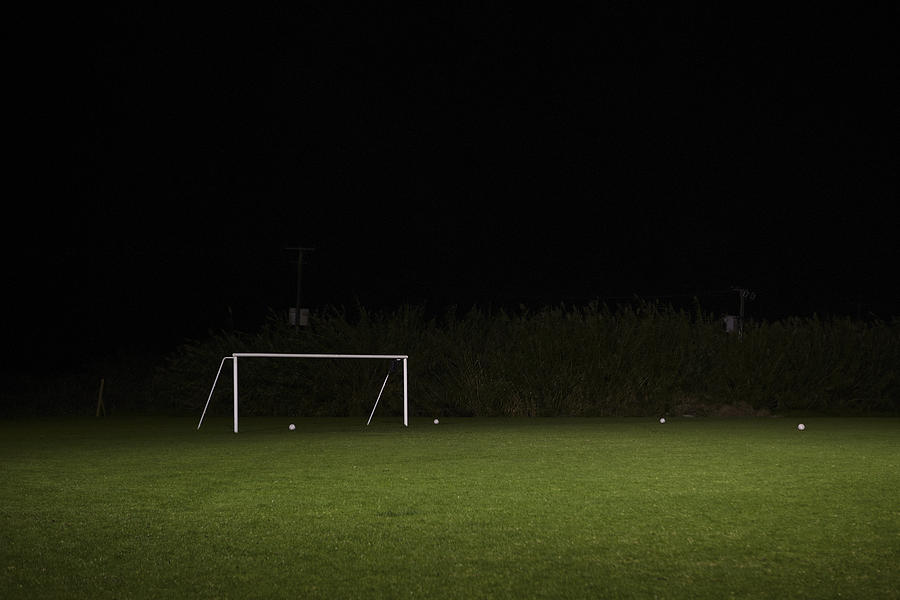 Empty Soccer Field At Night Photograph