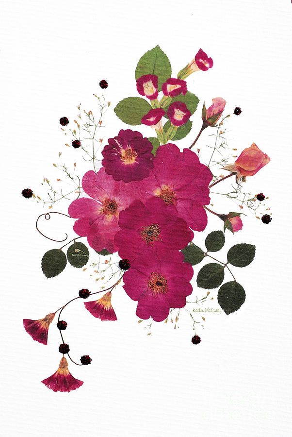 Enchanted Garden Pressed Flower Roses by Kathie McCurdy