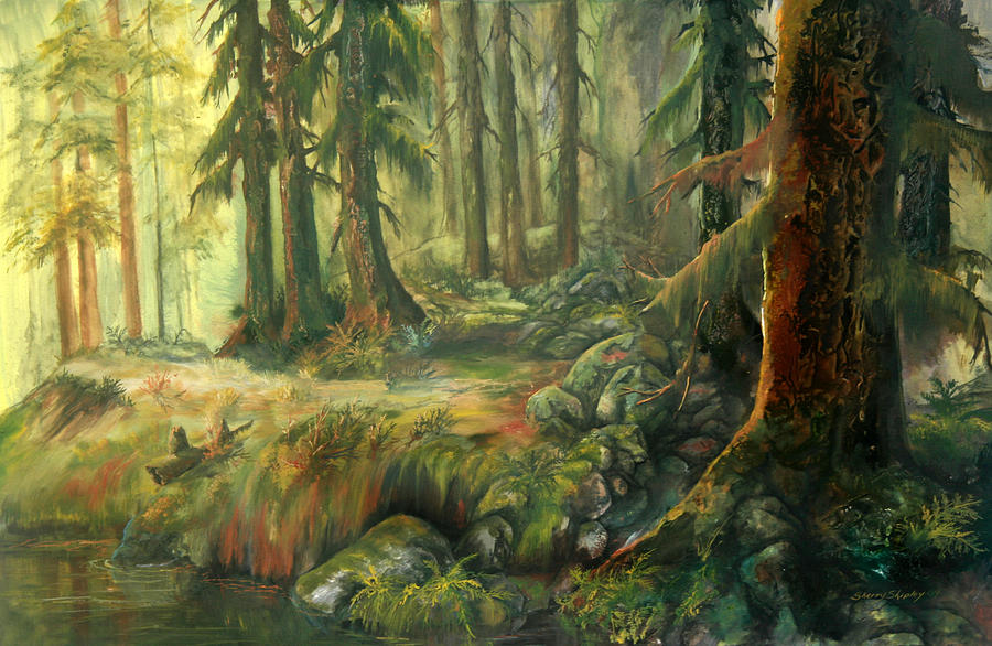 Enchanted Rain Forest Painting  - Enchanted Rain Forest Fine Art Print
