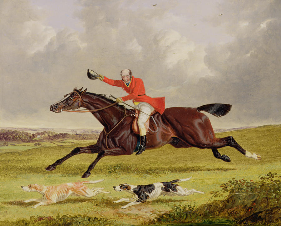 Encouraging Hounds Painting - Encouraging Hounds by John Frederick Herring Snr