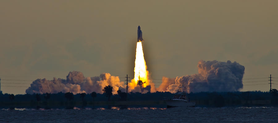 Endeavor Blast Off Photograph  - Endeavor Blast Off Fine Art Print