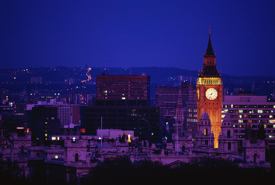 England,london,view Of Big Ben And City At Night Photograph