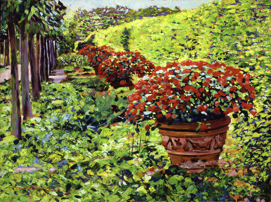 English Flower Pots Painting  - English Flower Pots Fine Art Print