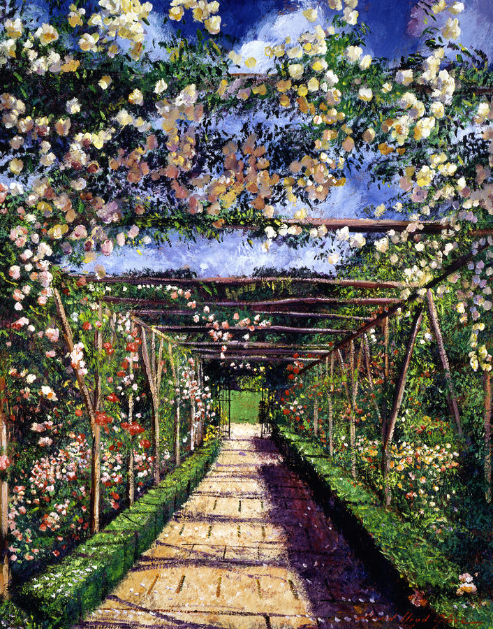 English Rose Trellis Painting  - English Rose Trellis Fine Art Print