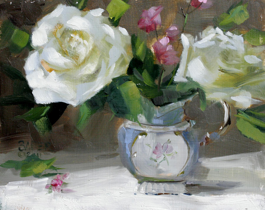 Original Oil Painting Painting - English Tea Rose by Chris  Saper