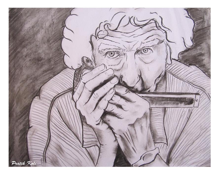 Staring Death Drawing - Enjoying Life by Pratik Koli